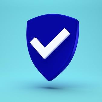 Concepto mínimo de escudo de protección. icono de control de seguridad.