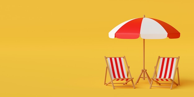 Concepto mínimo de vacaciones de verano, sombrilla con sillas sobre fondo amarillo, ilustración 3d