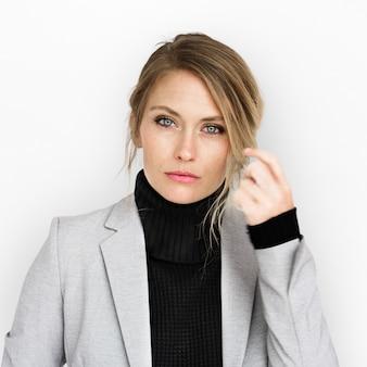 Concepto de mirada fresco de la mujer de negocios