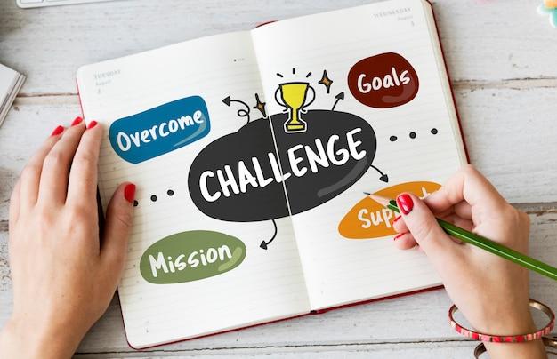 Concepto de misión de mejora de objetivos de competencia de desafío