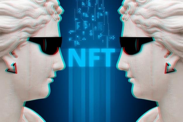 Concepto moderno de arte digital nft o token no fungible.