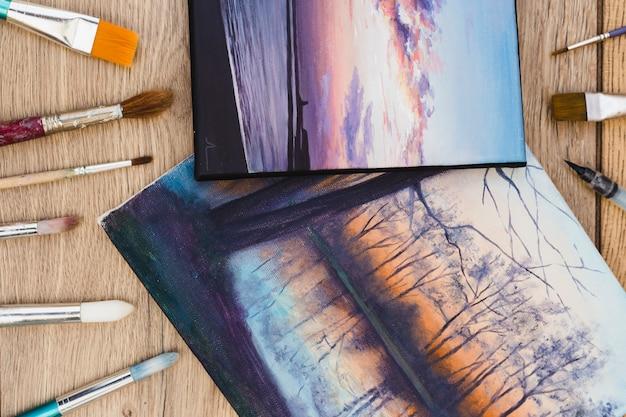 Concepto moderno de artista con vista superior de escritorio
