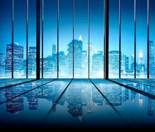 Concepto moderno de la sala interior contemporánea de builidings del paisaje urbano de la oficina