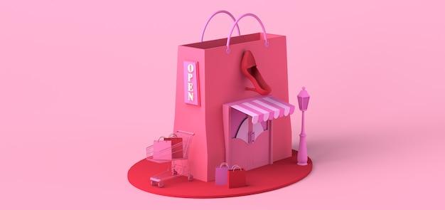 Concepto moderno de tienda de moda con bolsa de compras gigante compras en línea espacio de copia ilustración 3d