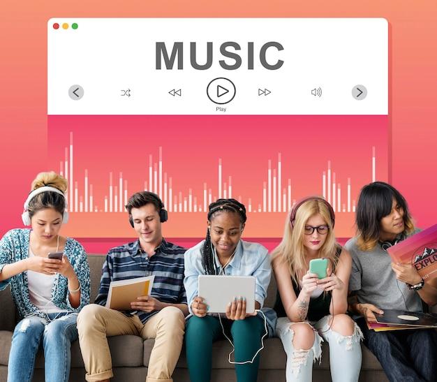 Concepto multimedia de reproductor de vídeo musical