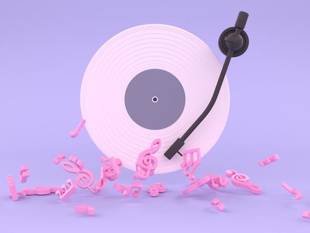 Concepto de música de disco de vinilo blanco rosa representación 3d fondo púrpura