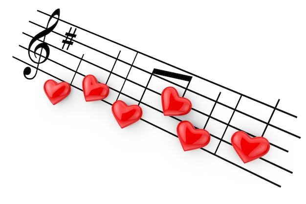 Concepto de música romántica. notas abstractas como corazones rojos sobre un fondo blanco. representación 3d