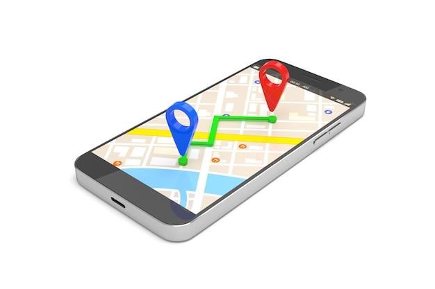 Concepto de navegación gps móvil