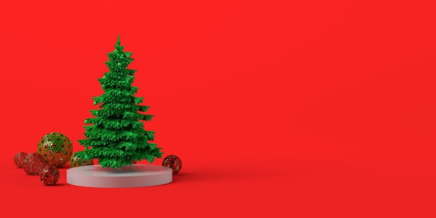 Concepto de navidad con árbol y bolas. copie el espacio. ilustración 3d.