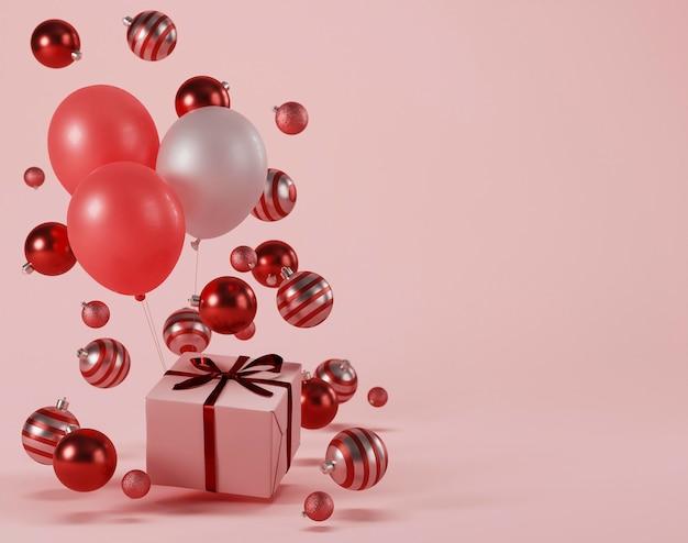 Concepto de navidad con bolas y espacio de copia.