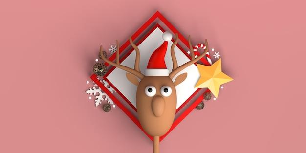 Concepto de navidad con estrellas de bolas de renos de santa claus y copos de nieve copie el espacio