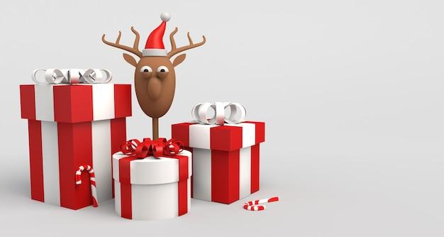 Concepto de navidad con regalos, bastones de caramelo y renos de santa claus. copie el espacio. ilustración 3d.