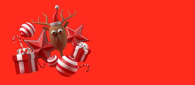 Concepto de navidad con regalos bolas bastones de caramelo y reno de papá noel copie el espacio