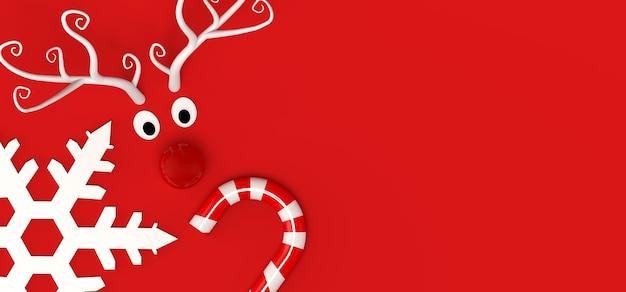 Concepto de navidad con renos, copo de nieve y bastón de caramelo. copie el espacio. ilustración 3d.