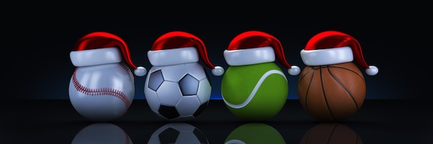 Concepto de navidad representación 3d de bolas de deportes