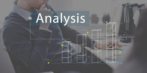 Concepto de negocio de análisis de estadísticas de gráfico de barras