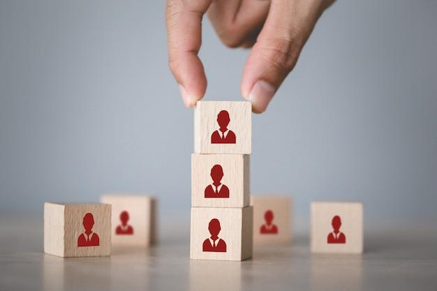 Concepto de negocio de gestión de recursos humanos y reclutamiento, estrategia empresarial para tener éxito.