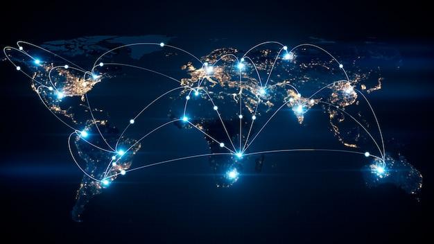 Concepto de negocio global de conexiones y transferencia de información en el mundo ilustración 3d