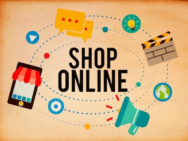 Concepto de negocio de marketing de comercio electrónico en línea de tienda