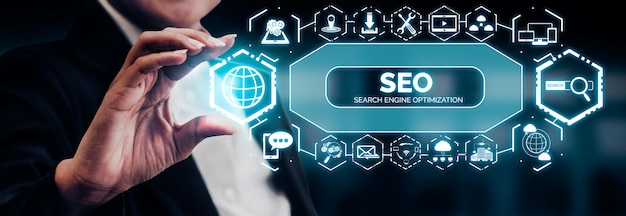 Concepto de negocio de seo search engine optimization