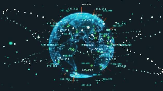 Concepto de negocio de tecnología de ilustración 3d de planeta tierra futuro giratorio