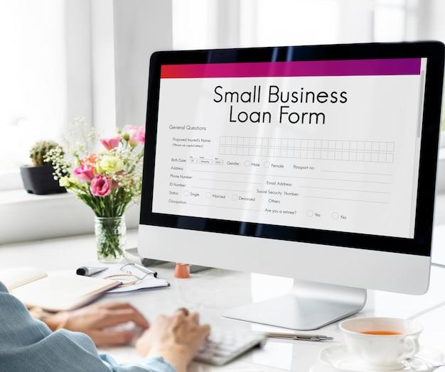 Concepto de nicho de créditos fiscales de forma de préstamo empresarial samll