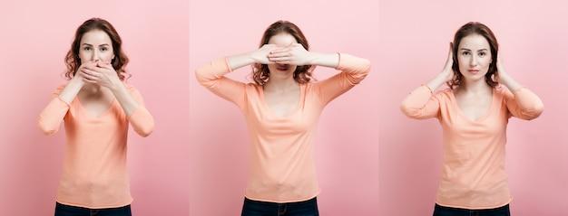 Concepto: no escucho nada, no veo nada, no diré nada. tres mujeres: no escuchar, no ver, guardar silencio.