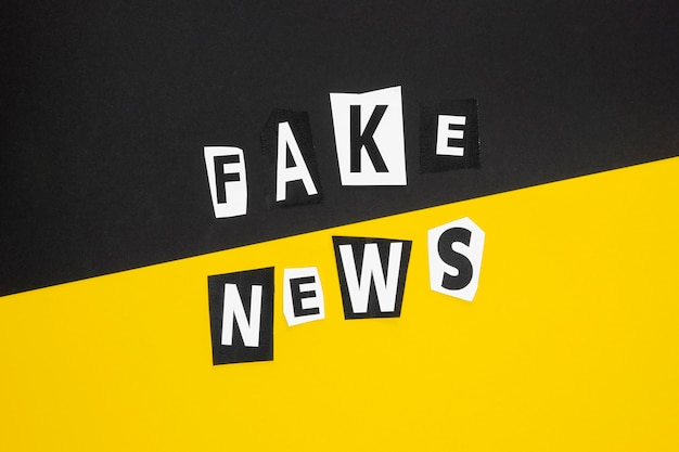 Concepto de noticias falsas en negro y amarillo.