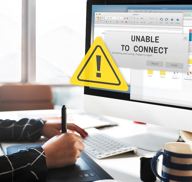 Concepto de notificación de conexión imposible no disponible