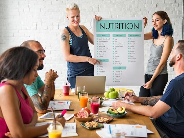 Concepto de nutrición y comida sana.