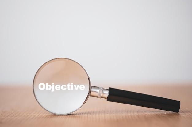 Concepto de objetivo y meta de objetivo empresarial
