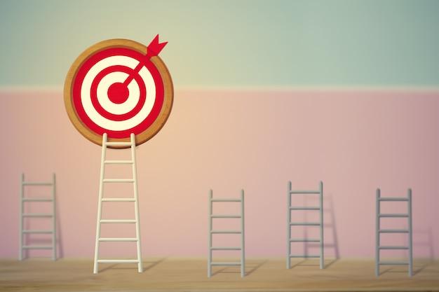 Concepto de objetivos: la escalera blanca más larga y apuntar alto al objetivo objetivo entre otras escaleras cortas, representa un rendimiento excelente y se destaca de la multitud y piensa de manera diferente.