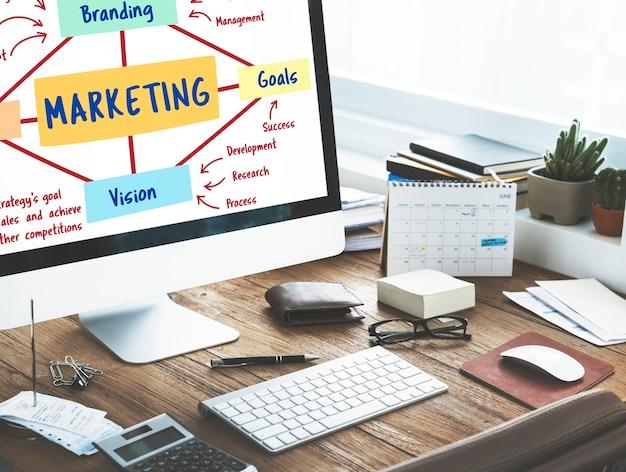 Concepto de objetivos de visión de planificación de marca de marketing