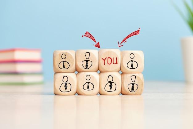 El concepto de una oferta de trabajo adecuada para ti entre otros candidatos.