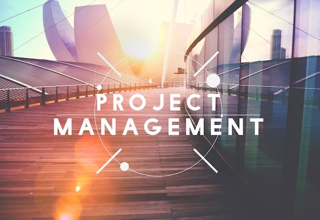 Concepto de organización de planificación de procesos de estrategia de gestión de proyectos
