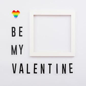 Concepto de orgullo gay be my valentine frame