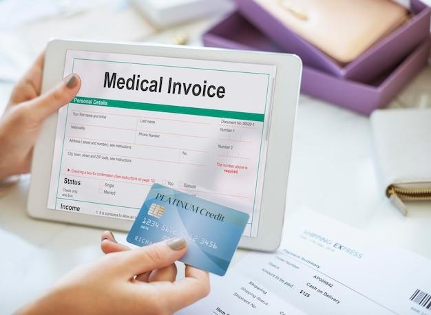Concepto de paciente de formulario de documento de factura médica