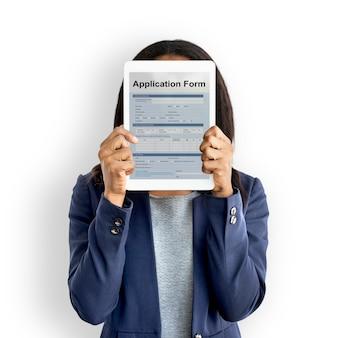 Concepto de página de documento de formulario de solicitud