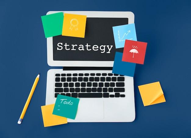 Concepto de palabra de estrategia técnica táctica