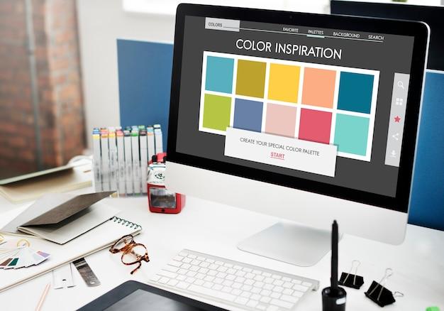 Concepto de paleta de colores de diseño de sombra de color