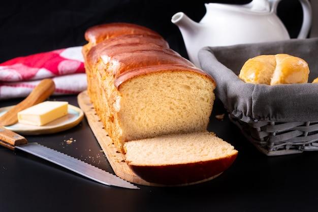 Concepto de panadería comida hokkaido casero recién horneado