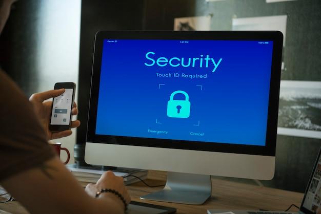 Concepto de pantalla de bloqueo de seguridad digital