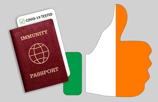 Concepto de pasaporte de inmunidad, certificado para viajar después de una pandemia para personas que han tenido coronavirus o vacunas y resultado de la prueba para covid-19 en la bandera de irlanda