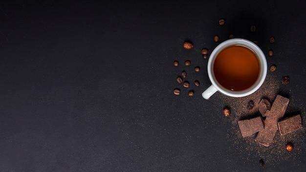 Concepto de pausa para el té con espacio de copia