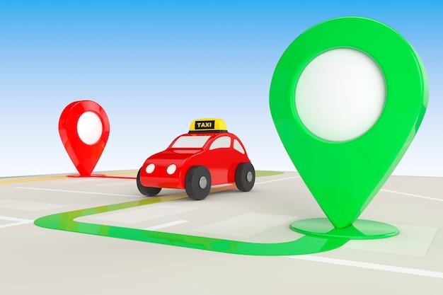 Concepto de pedido de taxi. taxi de juguete desde arriba del mapa de navegación abstracto con alfileres de destino