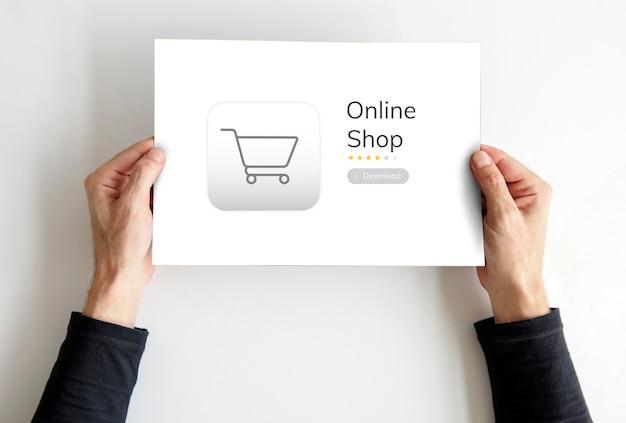 Concepto de pedido de tienda de compras en línea
