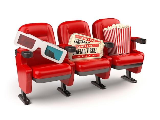 Concepto de película de cine. asientos rojos con billetes, palomitas de maíz y gafas 3d aislados en blanco.