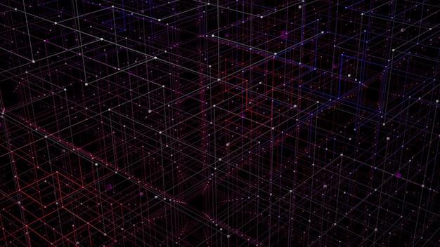 Concepto de perspectiva de cuadrícula 3d para visualización de datos de red digital.