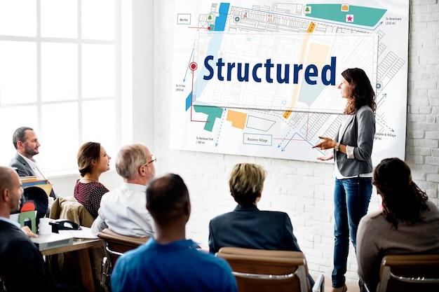 Concepto de plan de diseño de construcción de edificios estructurados