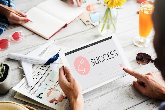 Concepto de plan de lanzamiento de nuevos negocios de éxito